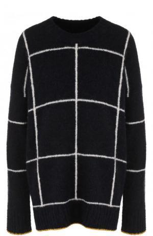 Вязаный пуловер свободного кроя с круглым вырезом Elizabeth and James. Цвет: темно-синий