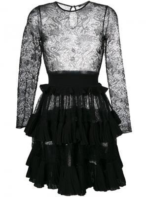 Ажурное платье с расклешенной юбкой Antonino Valenti. Цвет: чёрный