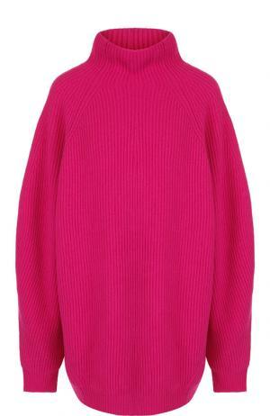 Однотонный пуловер из смеси шерсти и кашемира с воротником-стойкой Erika Cavallini. Цвет: фуксия
