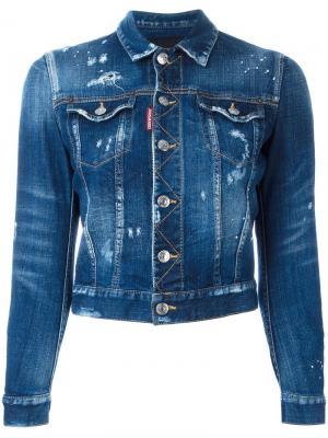 Укороченная джинсовая куртка с рваными деталями Dsquared2. Цвет: синий