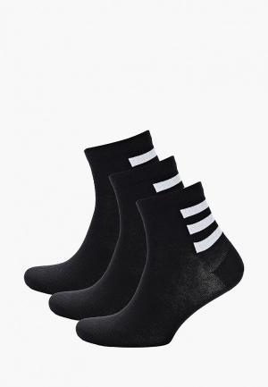 Носки 3 пары adidas. Цвет: черный