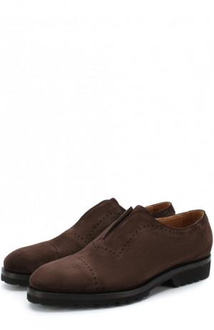 Кожаные ботинки без шнуровки Kiton. Цвет: темно-коричневый