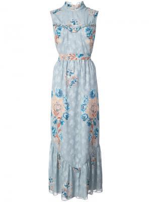 Платье макси с цветочным принтом Anna Sui. Цвет: синий