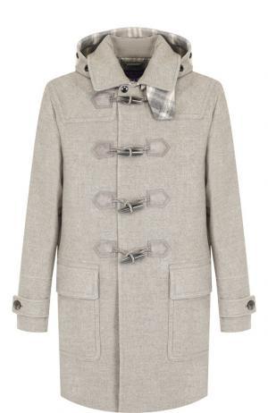 Шерстяной дафлкот с капюшоном Ralph Lauren. Цвет: серый
