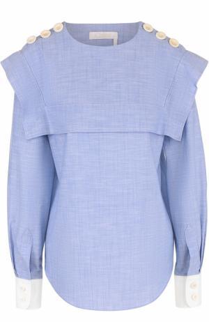 Хлопковая блуза с кейпом и погонами Chloé. Цвет: голубой
