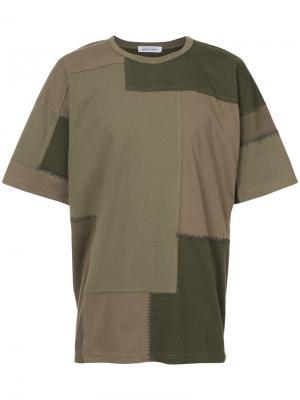 Лоскутная футболка Maharishi. Цвет: зелёный