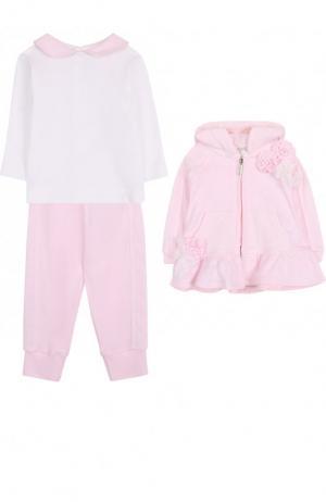 Хлопковый комплект из брюк с лонгсливом и кардиганом Aletta. Цвет: розовый
