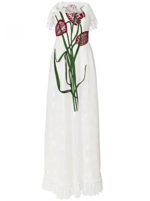 Кружевное платье с бюстье вышитыми тюльпанами Christopher Kane. Цвет: белый