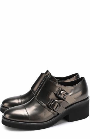 Кожаные монки на массивном каблуке Vic Matie. Цвет: черный