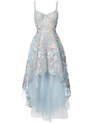 Асимметричное платье с цветочной вышивкой Marchesa Notte. Цвет: синий
