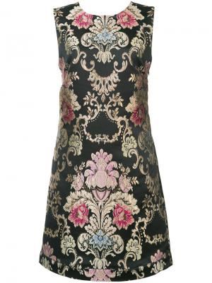 Платье с узором барокко Nicole Miller. Цвет: чёрный