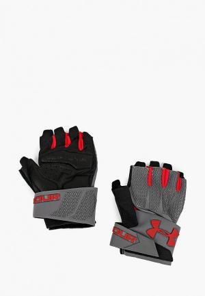 Перчатки для фитнеса Under Armour. Цвет: серый