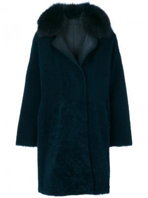 Пальто с меховой оторочкой Guy Laroche. Цвет: синий