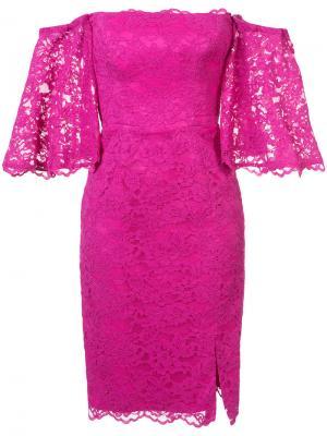 Платье с цветочной вышивкой Nicole Miller. Цвет: розовый и фиолетовый