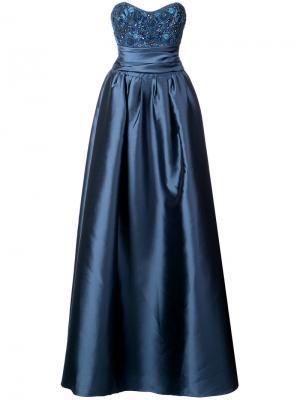 Вечернее платье-бюстье с декорированным лифом Marchesa Notte. Цвет: синий