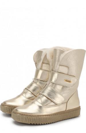 Утепленные кожаные ботинки с металлизированной отделкой Missouri. Цвет: золотой