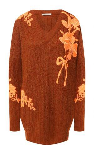 Шерстяной пуловер с декоративной вышивкой Christopher Kane. Цвет: оранжевый