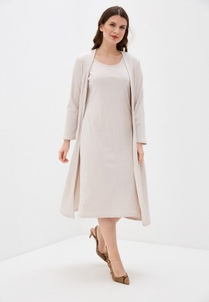 Платье и кардиган TrendyAngel. Цвет: бежевый