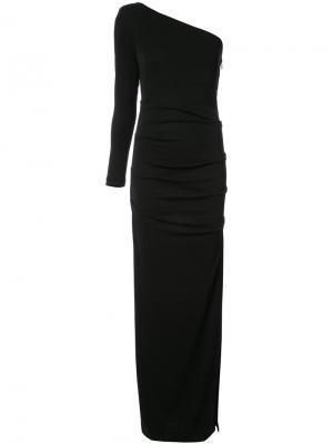 Облегающее платье на одно плечо Nicole Miller. Цвет: чёрный