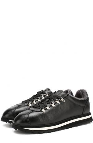 Кожаные кроссовки на шнуровке с внутренней меховой отделкой Doucals Doucal's. Цвет: черный