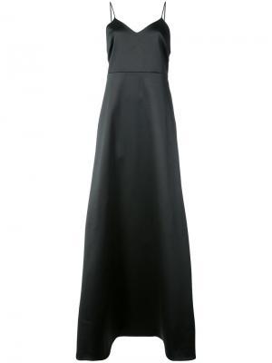 Расклешенное платье  с V-образным вырезом Halston Heritage. Цвет: чёрный