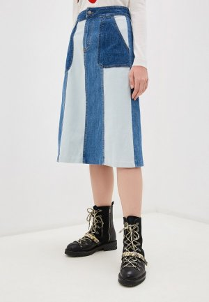 Юбка джинсовая Alice + Olivia. Цвет: синий