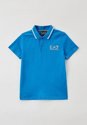 Поло EA7. Цвет: голубой
