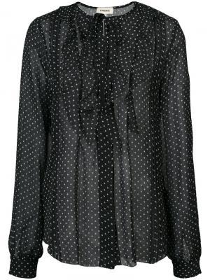 Блузка в горох с оборками  Lagence L'agence. Цвет: чёрный