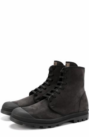 Кожаные ботинки на шнуровке Jil Sander. Цвет: черный