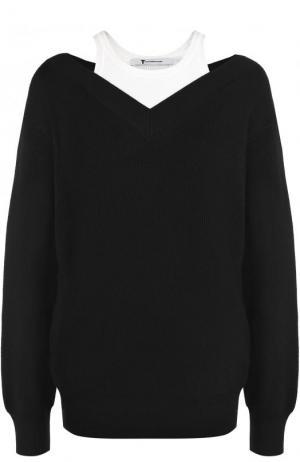 Шерстяной пуловер свободного кроя T by Alexander Wang. Цвет: черный