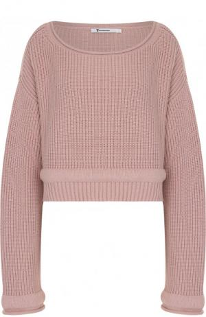 Укороченный пуловер фактурной вязки с круглым вырезом T by Alexander Wang. Цвет: розовый