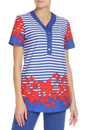 Блузка EL FA MEI. Цвет: синий
