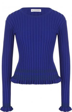 Приталенный пуловер фактурной вязки с круглым вырезом Altuzarra. Цвет: синий
