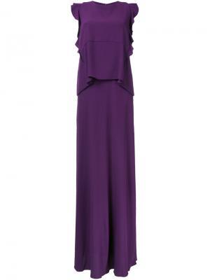 Длинное платье с оборками Carven. Цвет: розовый и фиолетовый