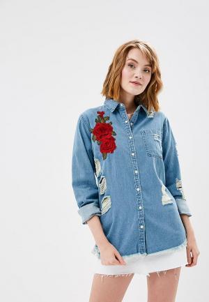 Рубашка джинсовая Glamorous. Цвет: синий