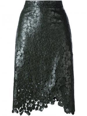 Кружевная юбка с запахом House Of Holland. Цвет: зелёный