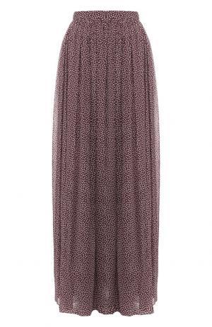 Шелковая юбка-макси с принтом Alexander Terekhov. Цвет: бордовый