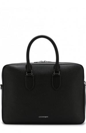 Кожаная сумка для ноутбука Alexander McQueen. Цвет: черный