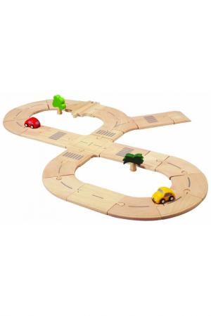Деревянная дорога Делюкс Plan Toys. Цвет: серый