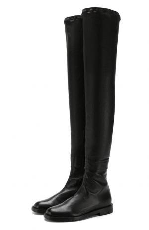 Кожаные ботфорты на низком каблуке Ann Demeulemeester. Цвет: черный