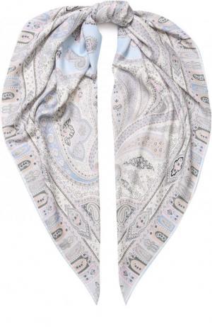Платок из смеси кашемира и шелка с принтом Michele Binda. Цвет: светло-голубой