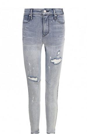 Укороченные джинсы-скинни с потертостями RTA. Цвет: синий