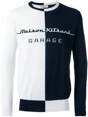 Джемпер с принтом garage Maison Kitsuné. Цвет: синий