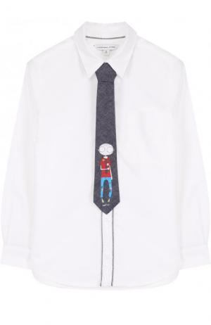 Комплект из хлопковой рубашки и галстука с принтом Marc Jacobs. Цвет: белый