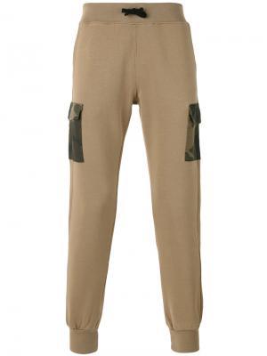 Спортивные брюки с камуфляжными карманами Hydrogen. Цвет: телесный