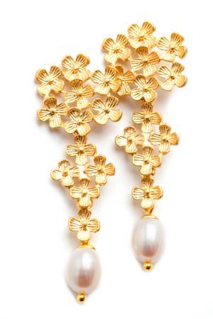 Серьги золотой букет BEATRICI LUX. Цвет: золотой