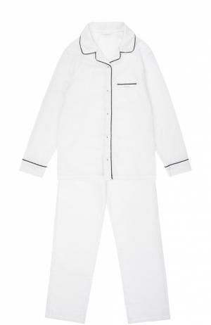 Пижама из хлопка с контрастной отделкой La Perla. Цвет: белый