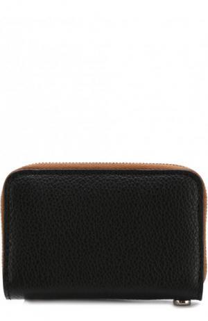 Кожаное портмоне с цепочкой Burberry. Цвет: черный