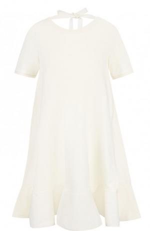 Хлопковое мини-платье свободного кроя с оборкой Moncler. Цвет: кремовый