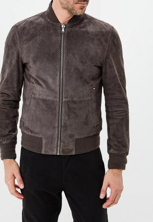 Куртка кожаная Tommy Hilfiger. Цвет: разноцветный